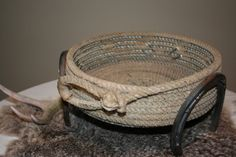 Western Cowboy Lariat Rope Basket with Horseshoes from Plus Z Ranch