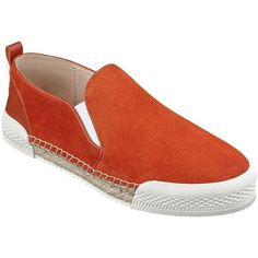 Nine West Oranges Suede Slip-On Sneakers ($60) ❤ liked on Polyvore featuring shoes, sneakers, orange, orange espadrilles, slip on trainers, nine west sneakers, slip on shoes and slip-on shoes
