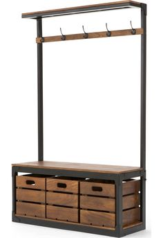 Layne Large Hall Stand, Black and Mango Wood - Flur Coat Stand Hallway, Hallway Coat Storage, Porch Storage, Hall Storage Bench, Cloakroom Storage, Entrance Hall Furniture, Hallway Furniture, Furniture Decor, Mango Wood Furniture