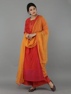 Red - Orange Chanderi Chiffon Suit - Set of 4