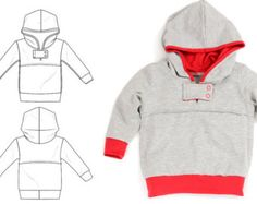 Kinderen hoodie patroon pdf, module tabblad, unieke stijl en look, gemakkelijk tutorial, maten 0M-6T-patroon 35