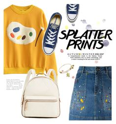 """Splatter prints 🎨"" by maria-maldonado ❤ liked on Polyvore featuring Alice + Olivia, Converse and paintiton"