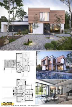 Modern House Floor Plans, Sims House Plans, Luxury Floor Plans, Duplex House Design, Small House Design, Modern Villa Design, Modern Minimalist House, Model House Plan, Architectural House Plans