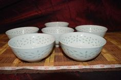 """Solid White Asian Porcelain Rice Eyes Set of 6 Soup Bowls  4 5/8""""x2 1/4"""""""