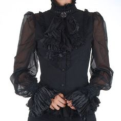 Black Victorian Gothic Shirt, would wear with a pair of velvet short-shorts and knee-high boots.