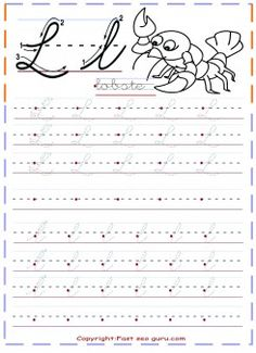 cursive handwriting practice tracing worksheets letter l for lobste - Printable Coloring Pages For Kids