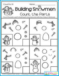Kindergarten math Counting worksheets Counting comes in all different forms as you can see with this build a snowman worksheet! You'll find this page in my AWESOME Winter Counting Worksheets for Kindergarten set. There's 50 pages of non-stop math fun - color by code and by number, number tracing, number order, before, after, graphing, and more. Please take a minute to check it out!