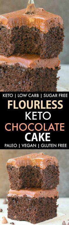 Flourless Keto Chocolate Cake (Paleo, Vegan, Low Carb, Gluten Free)- An easy healthy flourless keto chocolate cake recipe made with coconut flour and 100% sugar free and low carb! #flourlesscake #healthycake #ketogenicdessert #flourless #vegancake | Recipe on thebigmansworld.com