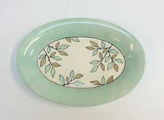 @krystalspeck Vine serving tray, porcelain with hand illustration & glazing.