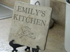 Personalized Laser Engraved Kitchen Sign on Stone Tile, Home Decor, Housewares, Home Decor, Houswarming, Gift, Customized, Name