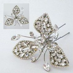 Vintage inspired bridal crystal hairpin by Erin Cole. Wear to the side, back or front of any up-do or bun style. Wedding Hair Up, Bridal Hair Pins, Bridal Hair Accessories, Wedding Jewelry, Vintage Hairstyles, Wedding Hairstyles, Bridal Hair Ornaments, My Wedding Planner, Thing 1