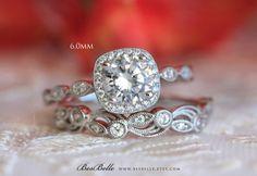 2.20 ct.tw Art Deco Bridal Set Ring-Halo Engagement Ring w/ Leaf & Vine Vintage Wedding Ring-Elegant Matched Set-Sterling Silver [65355-2]