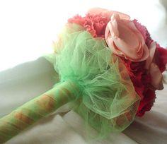 Fabric bouquet  Spring Affair coral peach pink green by kmj165