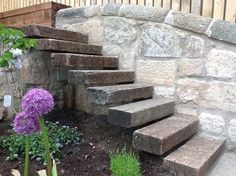 """Floating"" steps from reclaimed sleepers"