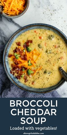 Broccoli Cheddar Soup Loaded with Vegetables from afarmgirlsdabbles. - This broccoli cheese soup recipe is loaded with vegetable goodness. You'll love every creamy, cheesy spoonful! Best Soup Recipes, Dinner Recipes, Healthy Recipes, Drink Recipes, Cheesy Potato Soup, Cheesy Potatoes, Queso Cheddar, Soup And Salad, Clean Eating Snacks