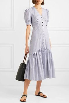 White and black cotton-jacquard Button fastenings through front cotton Machine wash 40s Fashion, Hijab Fashion, Love Fashion, Fashion Dresses, Womens Fashion, Dress Outfits, Casual Dresses, Prom Dresses, Designer Wear