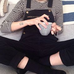 Black overall & black striped long tee
