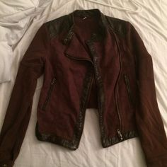 Free People red jacket with vegan leather detail Never ever worn. I bought it because I just loved the way it looked. But I never worn it. I am open to offers and negotiation. Free People Jackets & Coats