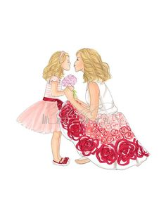 Mommy & Me Daughter Print by MMichelIllustration on Etsy