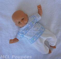 """Habits poupon 30 cm - ensemble pantalon """"petits lapins"""" : Jeux, jouets par mcl-poupees"""