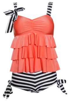 Stylish Spaghetti Strap Striped Multi-Layered Women's Swimsuit Swimwear | RoseGal.com Mobile