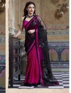 8903d949f6 Sarees - Hot Pink And Black Designer Collections - Trendy Designer  Collections   Wedding   Special Occasions   Festival   Party Wear