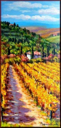 Tuscany Italian Vineyard Winery Village Oil Painting