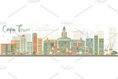 Abstract Cape Town skyline Graphics Abstract Cape Town skyline with color buildings. Vector illustration. Business travel and tourism co by Igor Sorokin