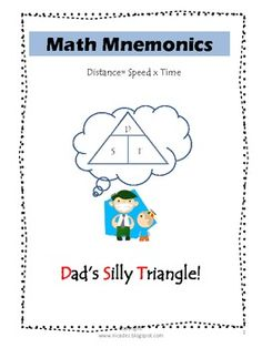 Math Mnemonics helps you to remember the formula for distance and its relationship with speed and time.Math Mnemonics by http://nicadez.blogs...