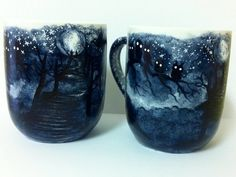 (The dark trail coffee mug is made to order -- please allow at least 2 weeks for your very own special mug to be painted, heat-set and shipped to you.
