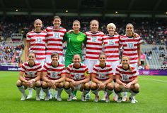 Team USA prior to the game against New Zealand in the women's quarterfinal match at St James' Park.