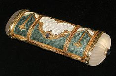 3 compartment Faberge-style Etui 18kt. gold, French enamal, carved rock crystal and sapphires.