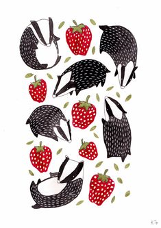 Beautiful illustration—Badgers and Strawberries Pattern Design by Katie Turner Beautiful illustration—Badgers and Strawberries Pattern Design by Katie Turner Badger Illustration, Pattern Illustration, Woodland Illustration, Cute Animal Illustration, Fruit Illustration, Strawberry Art, Strawberry Drawing, Illustration Inspiration, Surface Pattern Design