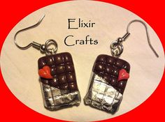 Polymer clay mini chocolate heart by ElixirCraftsGr on Etsy, Chocolate Hearts, Polymer Clay Necklace, Bar Earrings, Valentine Gifts, Jewerly, Unique Jewelry, Handmade Gifts, Personalized Items, Mini