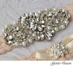 Bridal Garter Wedding Garter Set Stretch Lace by GarterQueen, $50.00