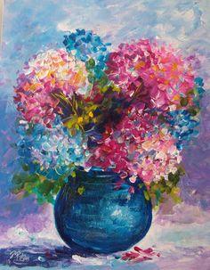 HYDRANGEA FLOWERS PINK ORIGINALOUTSIDER FOLK PAINTING PAT ROLLINS FLORIDA ART #Impressionism