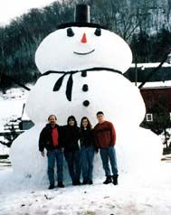 There might be a very cold, but large swimming pool when this snowman melts!