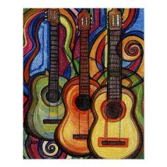 Three Guitars Poster