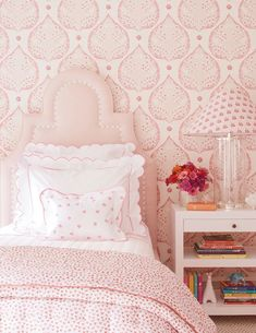 Galbraith & Paul Lotus Wallpaper - Shown in Indigo (Wallpaper Sold By The Yard - 5 Yard Minimum Order), Pink Bedrooms, Furniture, Room, Beige Bed Linen, Interior, Pink Bedroom, Bedroom Design, Bed Linens Luxury, Home Decor