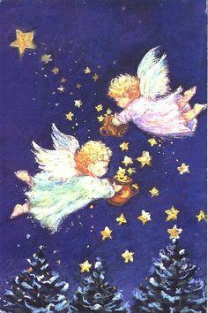 Anjinhos semeam estrelas. Cartão de Natal, Inglaterra, sem data.