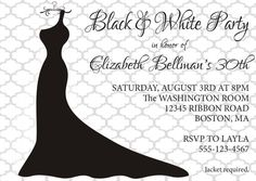 Black And White Ball Party Fancy Dress Invitation Invite DIY Printable