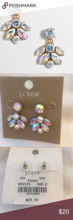 "Crystal Cluster Drop Earrings Zinc, epoxy and glass stones. Light gold ox plating. 1""L x 3/4""W. Factory Brand 💖 J. Crew Jewelry Earrings"