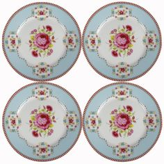 Set of 4 Pip Studio Amsterdam 7 Inch Blue Porcelain Plates