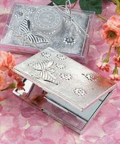Elegant  Reflections Collection butterfly design mirror compact favors