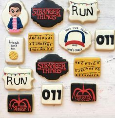 My Birthday Cake, 11th Birthday, Birthday Cookies, Birthday Parties, Stranger Things Funny, Eleven Stranger Things, Stranger Things Netflix, Halloween Cookies Decorated, Halloween Sugar Cookies