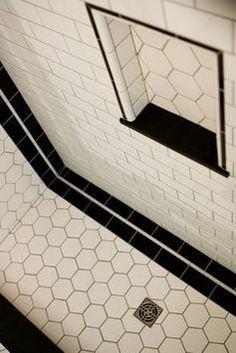 Art Deco Bathroom - love these hexagon tiles!
