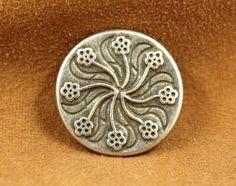 Flower Flourish Metal Buttons , Antique Silver Color , Shank , 0.79 inch , 6 pcs by Lyanwood, $4.80