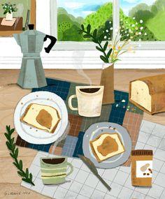 Ginnie Hsu — Self-care Art And Illustration, Coffee Illustration, Food Illustrations, Gouache Painting, Cute Art, Food Art, Art Inspo, Art Drawings, Artsy