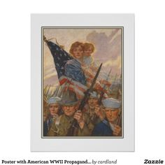 Poster with vintage WWII propaganda print from United States. Liberty Loan Committee of Washington advertising to get financial help and support to the war effort. This version with thin inner frame and white border around actual print ...