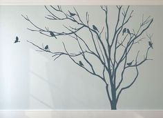 """Winter Tree Decal with Birds SIZE 110"""" H by 138"""" W (For other sizes, contact US for a quote.) DEFAULT COLOR for this listing -Brown"""
